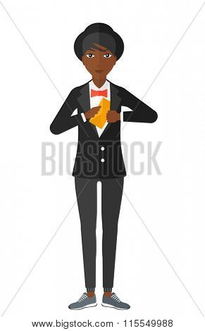 Woman putting envelope in pocket.