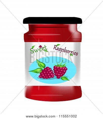 Bank raspberry jam vector