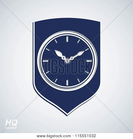 Vector wall clock with an hour hand on dial. Protection shield and timer illustration isolated on wh
