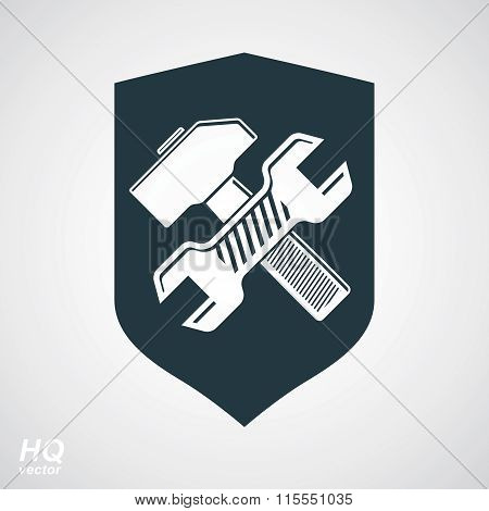Hammer and wrench crossed design graphic element. Vector grayscale defense shield.