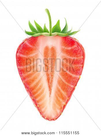 Isolated Half Of Strawberry With Heart Shaped Core