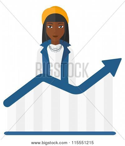 Woman with growing chart.