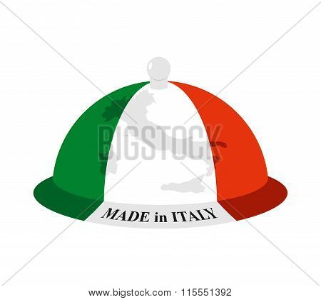 Cloche Italian. Cover For Hot Dishes With Map Of Italy. Accessory Of Italian Cooks. Subject Of Table