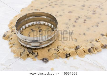 Cookie Cutter Cutting Circle From Cookie Dough