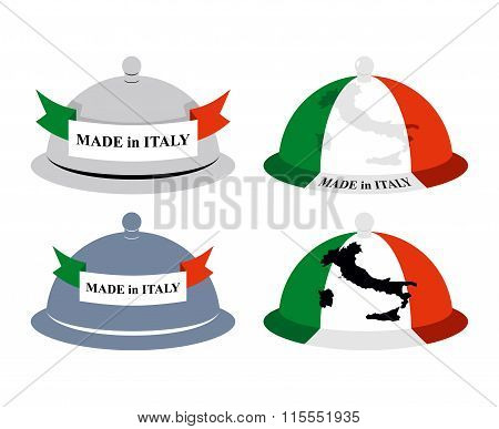 Set Kitchen Cloche Italian. Cover For Hot Dishes With Map Of Italy. Accessory Of Italian Cooks. Subj