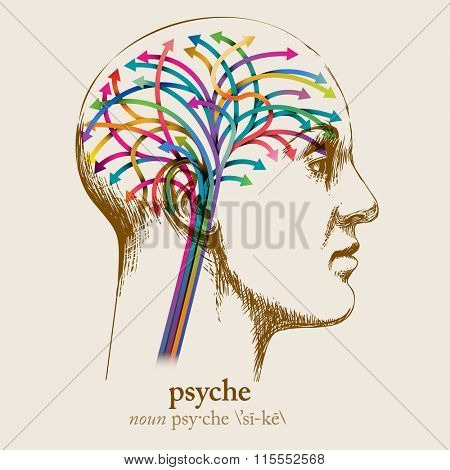 Psyche, sketched head and brain, eps10 vector
