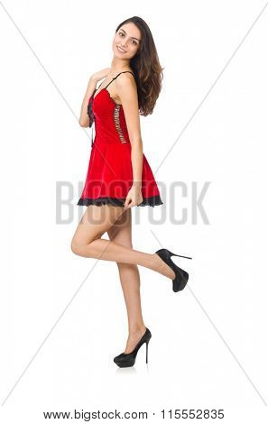 Woman wearing short mini red dress isolated on white
