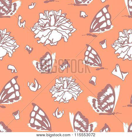 Seamless pattern with dead butterflies