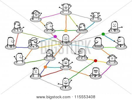 cartoon connected people on big social network