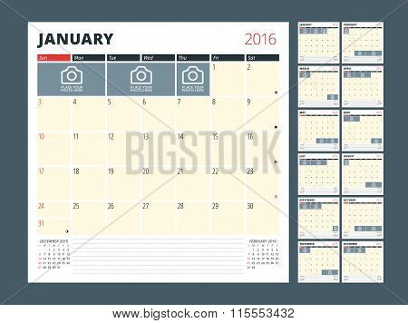 Calendar Planner Template For 2016 Year. Vector Design Print Template. Week Starts Sunday. Calendar