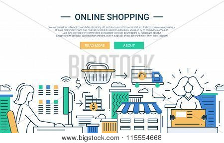 Online shopping line flat design banner with a purchase process