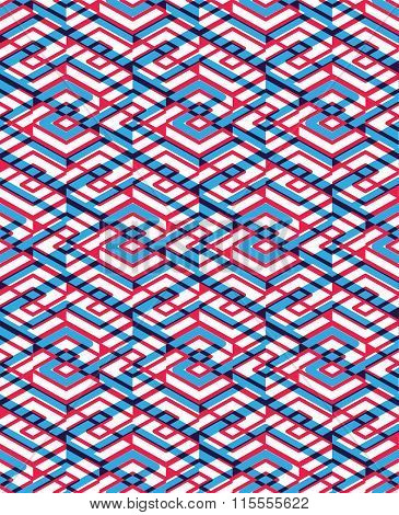 Geometric Seamless Pattern With Transparent Impose Rhombs, Endless Intertwine Ethnic Vector Ornament