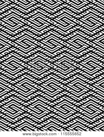 Contrast Geometric Seamless Pattern With Symmetric Ornament. Lined Impose Graphic Contemporary