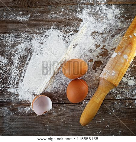 Cooking Background With Eggs