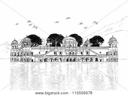 Palace In Water - Jal Mahal, Rajasthan, India Vector Illustration