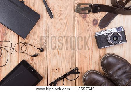 Travel,vacation, Tourism  Concept - Set Of Cool Stuff With Camera, Tablet Ps And Other Travel Things