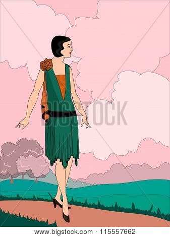 Vector Illustration of the twenties styles girl