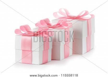 Gift white box with pink satin ribbon