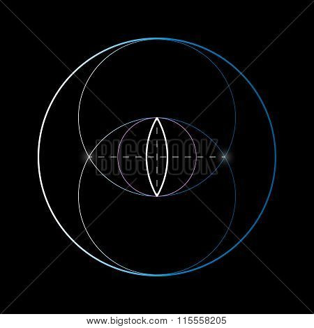 Vesica Piscis. Sacred Geometry Vector Element.