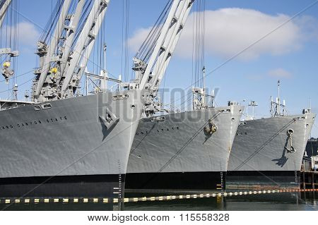 The Grand Canyon State, Gem State and Keystone State military crane ships close up
