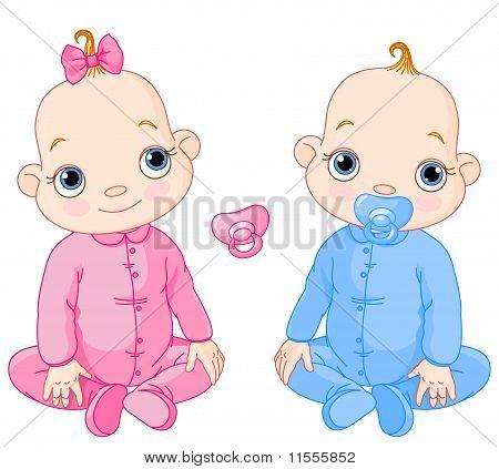 Cute Sitting Twins