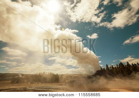 Castle geyser, Yellowstone National Park, Wyoming, USA