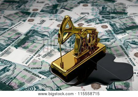 Golden Pumpjack And Spilled Oil On Russian Rubles