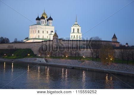 Pskov Kremlin late October evening. Russia