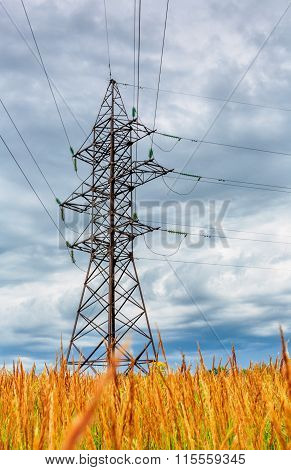 High Voltage Line And Cloudy Sky