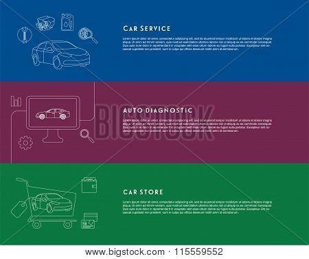 Car service, diagnostic, store banners