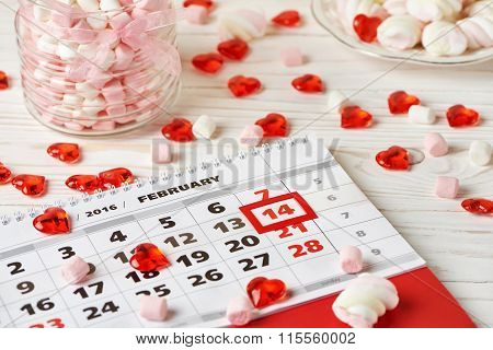 Calendar Valentines Day And Marshmallows
