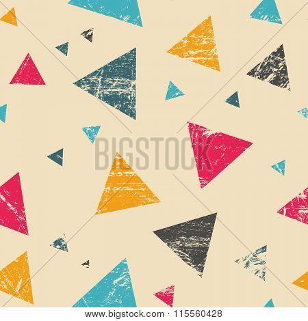 Seamless Grunge Triangle Pattern
