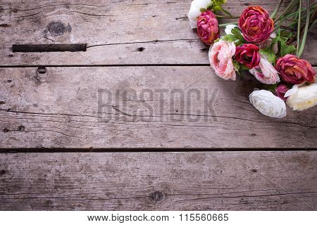 Flowers  In Pink Colors On Vintage Wooden Background.