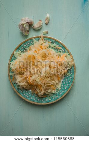 Salad Of Sauerkraut And Carrots In Rustic Style. Pickled Cabbage With Carrots. Marinated Cabbage In