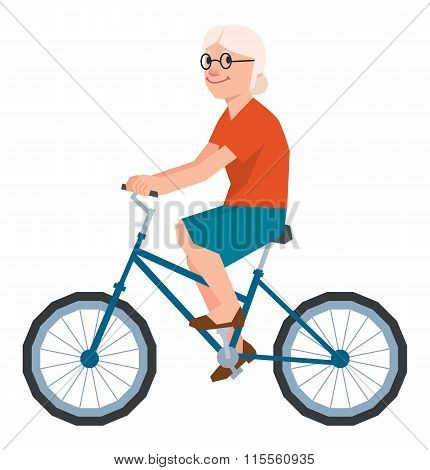 Vector Senior Woman In The Style Of Low Polygon Poly Rides A Bicycle