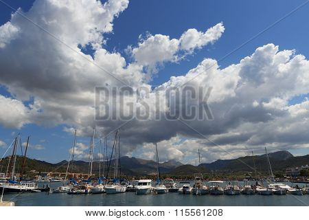 Clouds over Port d'Andratx and boats, Majorca