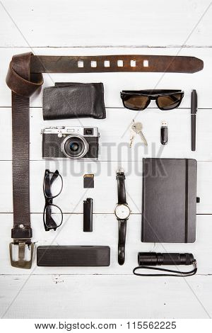Travel,vacation  Concept - Set Of Cool Stuff With Camera And Other Travel Things On Wooden Table
