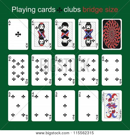 Playing Cards. Clubs. Bridge Size