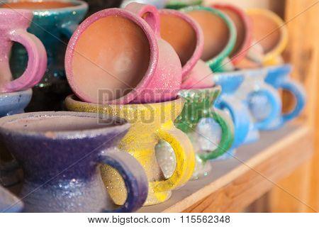 Colorful Ceramics In Nizwa Souq, Oman