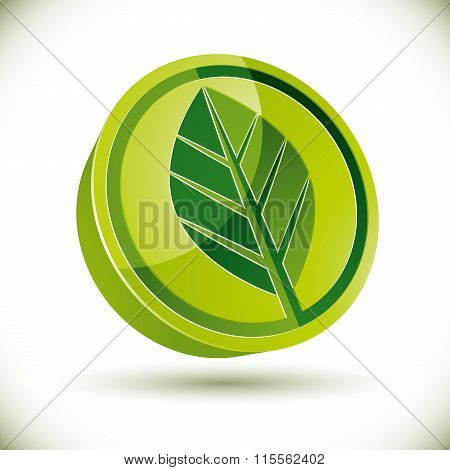 Green spring leaf 3d round vector icon.