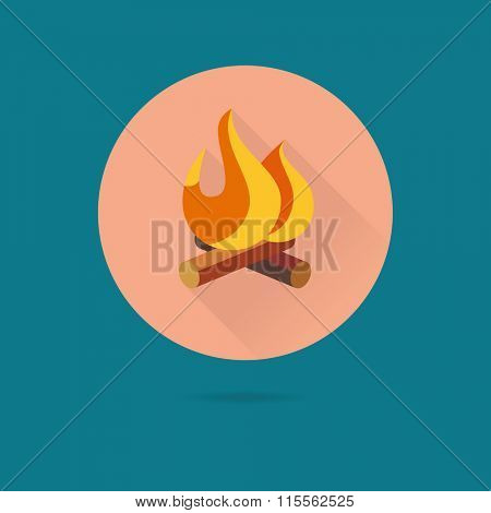 Camp Fire Icon, outdoor pursuit concept. Flat design vector icon of log fire