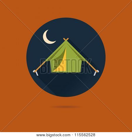 Tent icon, outdoor pursuits concept. Flat design vector icon of camping tent at night