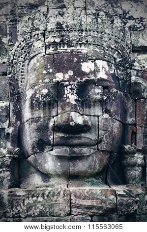Bayon Face At Bayon Temple In Angkor Wat, Siem Reap, Cambodia