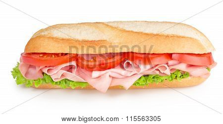 sub with ham tomato and lettuce