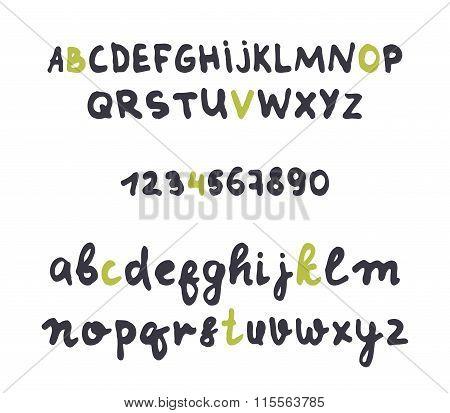 Font careless style handmade. Design alphabet