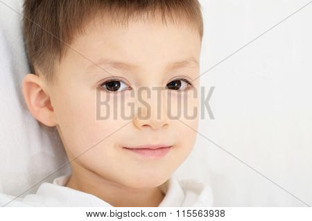 Caucasian Boy Portrait Five Years Old