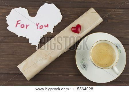 Romantic desire to VALENTINES DAY. Coffee, cards and gift of love. Write for You.