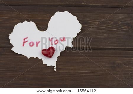 Sign for you on a wooden board. Love cards VALENTINES DAY. Confesses his love.