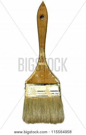 Old Paint Brush Isolated On The White Background