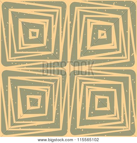 Vector Seamless Hand Drawn Geometric Lines Square Tiles Retro Grungy Green Tan Color Pattern